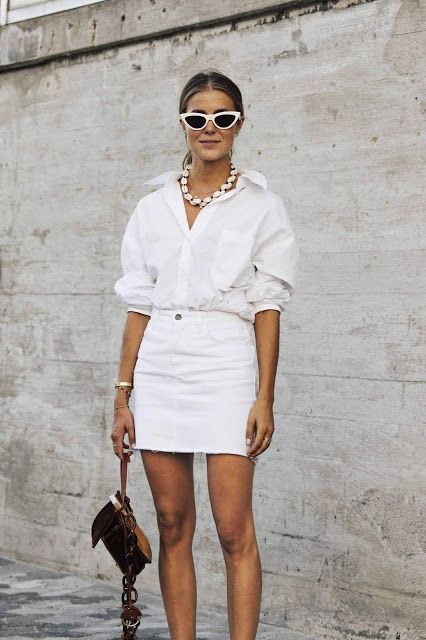 white denim skirt and white button down shirt
