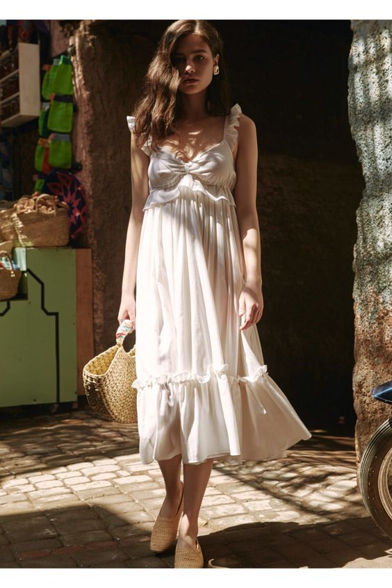 midi white romantic floaty dress