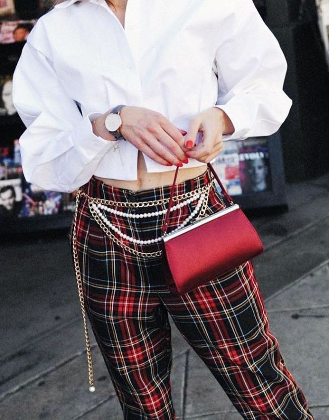 chain belt, tartan trousers, white shirt