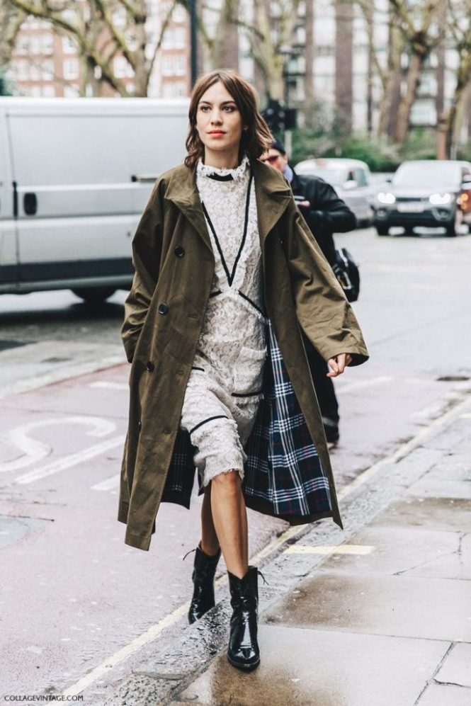 How to wear cowboy boots - dress and trench coat