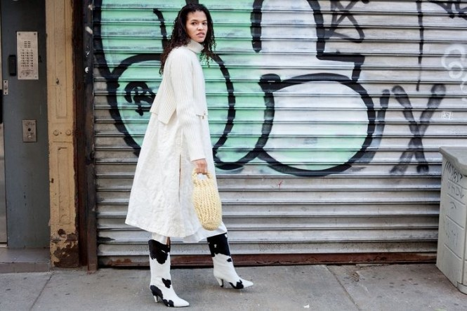 How to wear cowboy boots - dress over jeans, monochrome