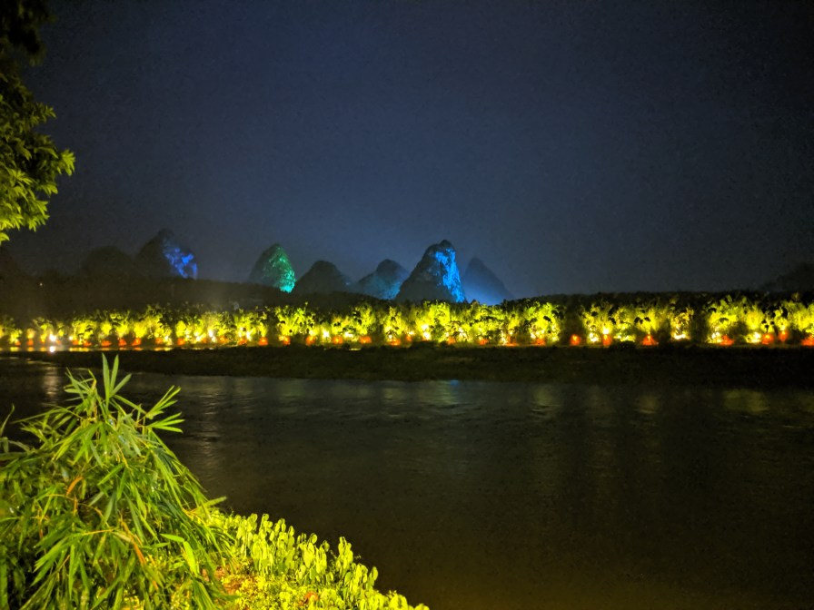 View at night from Yangshuo over the river