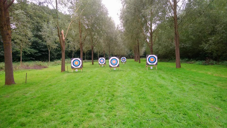 Beautiful meadow with five archery targets