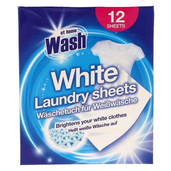 Салфетки для стирки белья At Home White Laundry Sheets 12 шт
