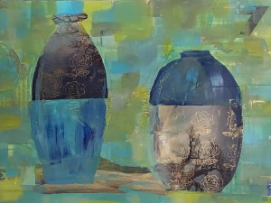 Brian M. White - 2 Jars - 14 x 11 mixed media