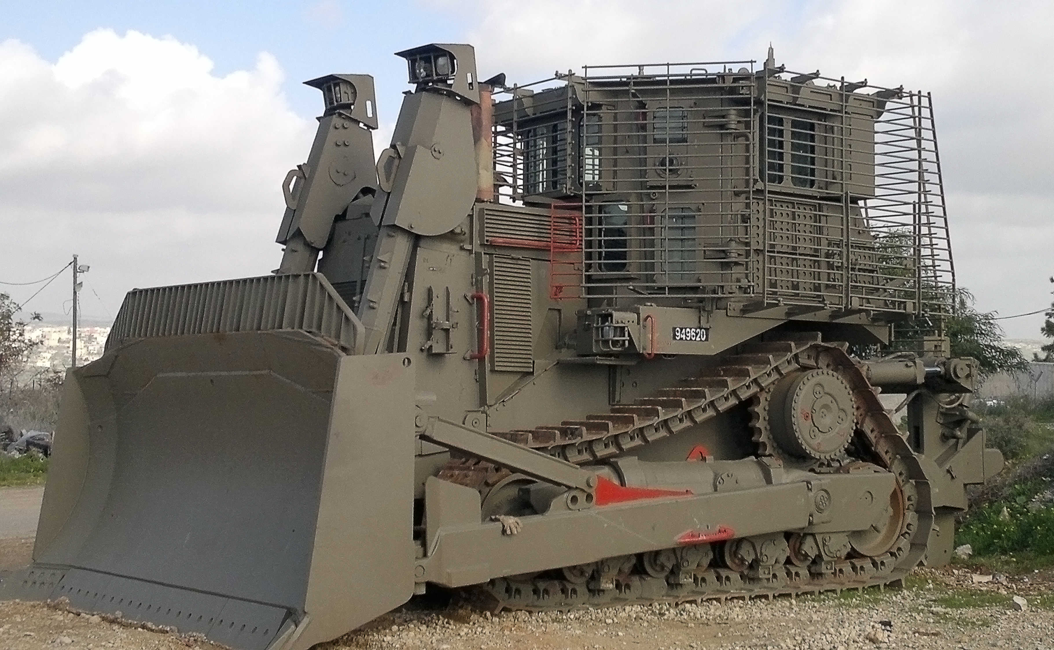 This Israeli D9R Combat Bulldozer is another example of a combat engineering vehicle. It is capable of moving earth and demolishing barriers while under fire.