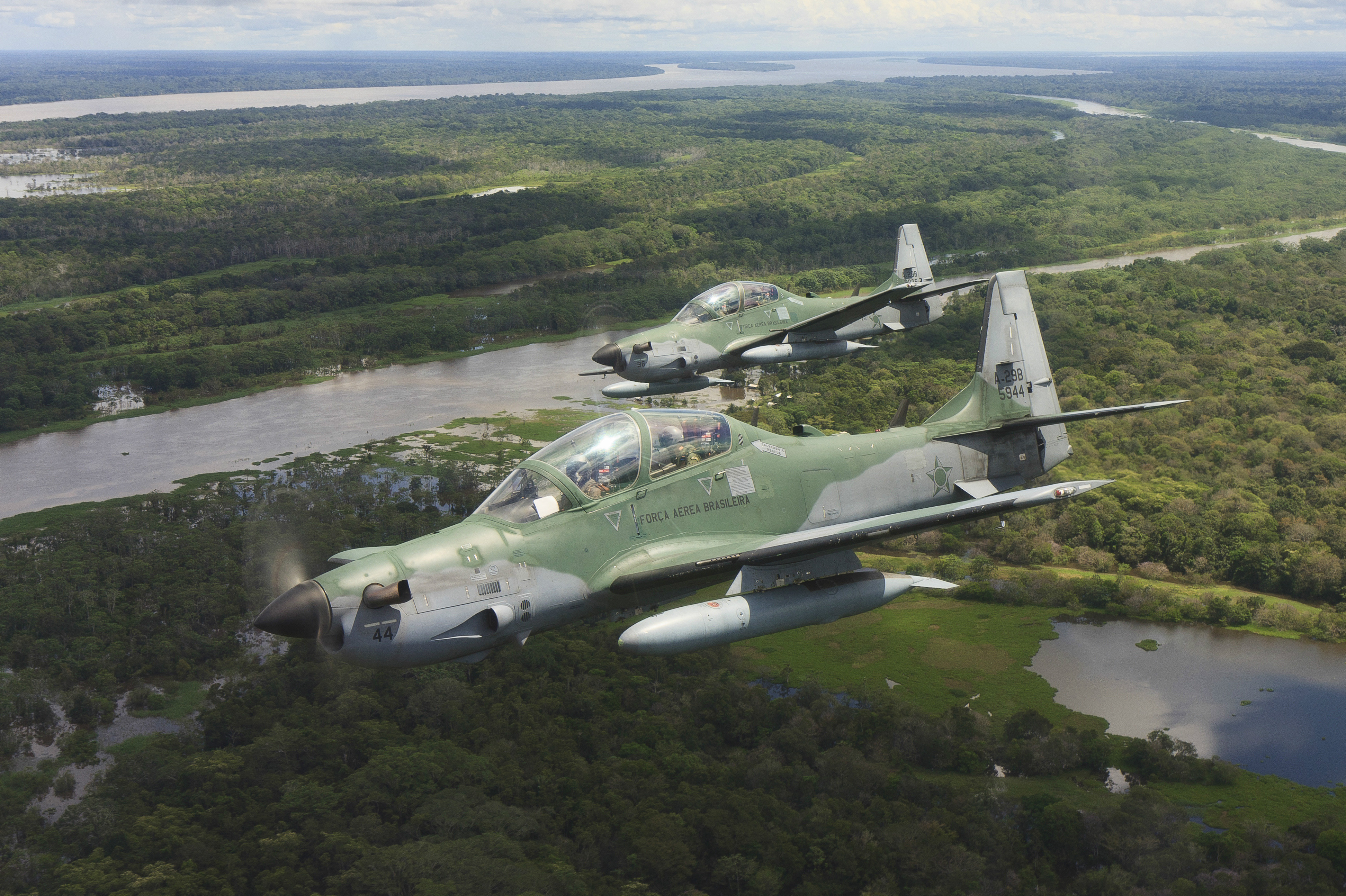 Brazilian Super Tucano aircraft in flight.