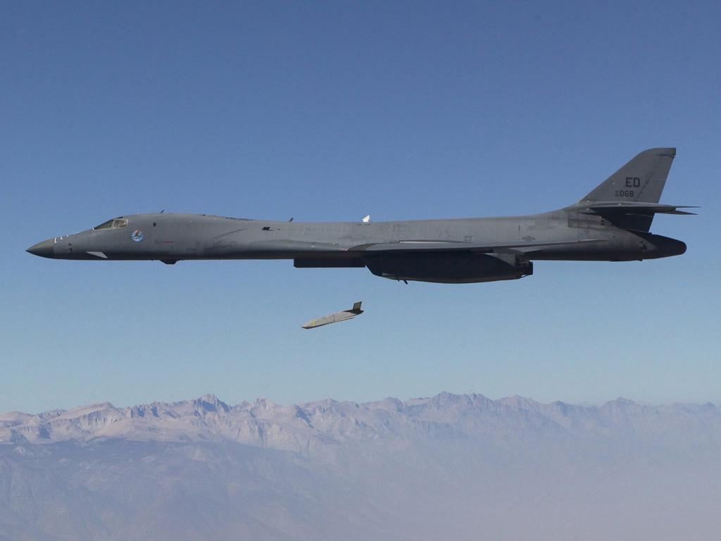 A B-1B strike aircraft deploys a LRASM during testing.