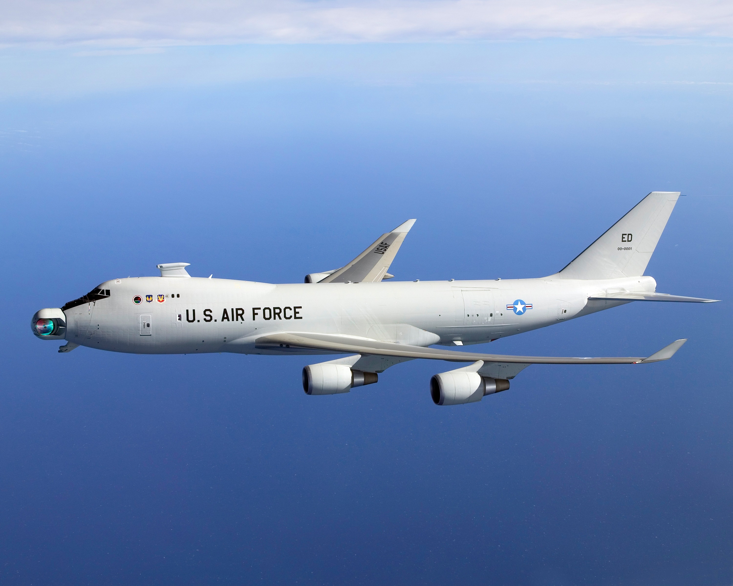 The YAL-1 was a US airborne laser system designed to eliminate missiles in the boost stage of their flight. The system is no longer being considered or tested.