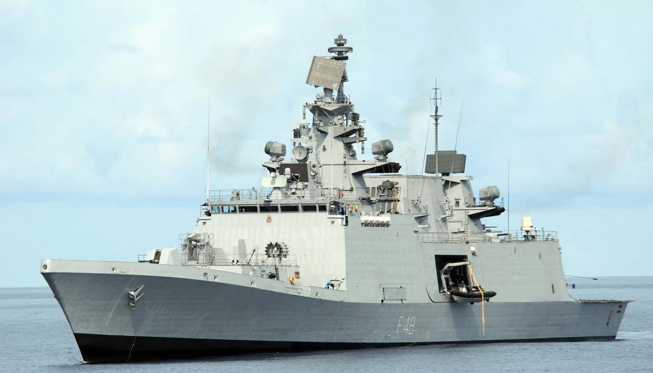 The INS Satpura, a Shivalik-class frigate, underway. The Shivalik-class vessels are the second-largest Indian-built surface combatants in service.