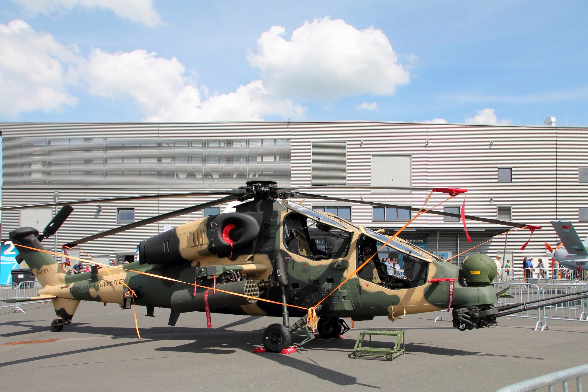 A T129 attack helicopter, based on the Augusta A129.