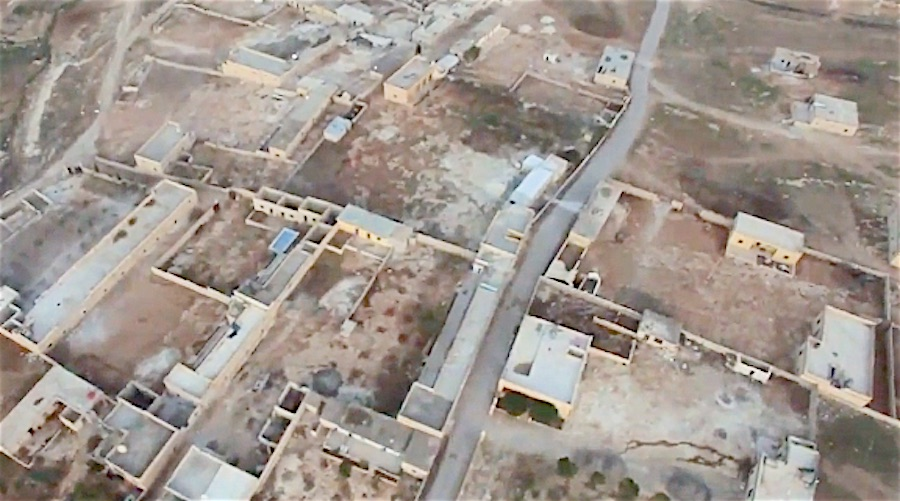 An example of the kind of bird's-eye images taken by quadcopters in Syria.
