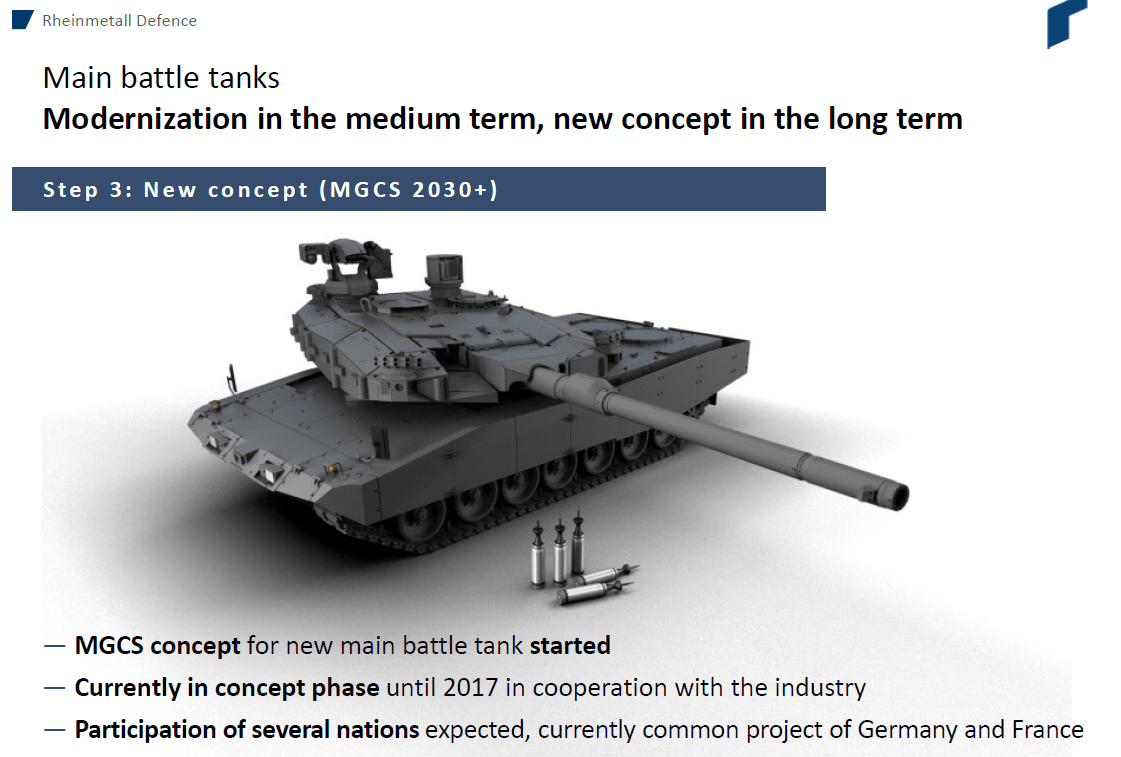 "Rheinmetall's new ""Main Ground Combat System"" tank concept, which utilizes the 130mm gun."