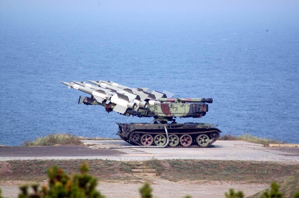 A quadruple Newa SC launcher unit based on a T-55 chassis.