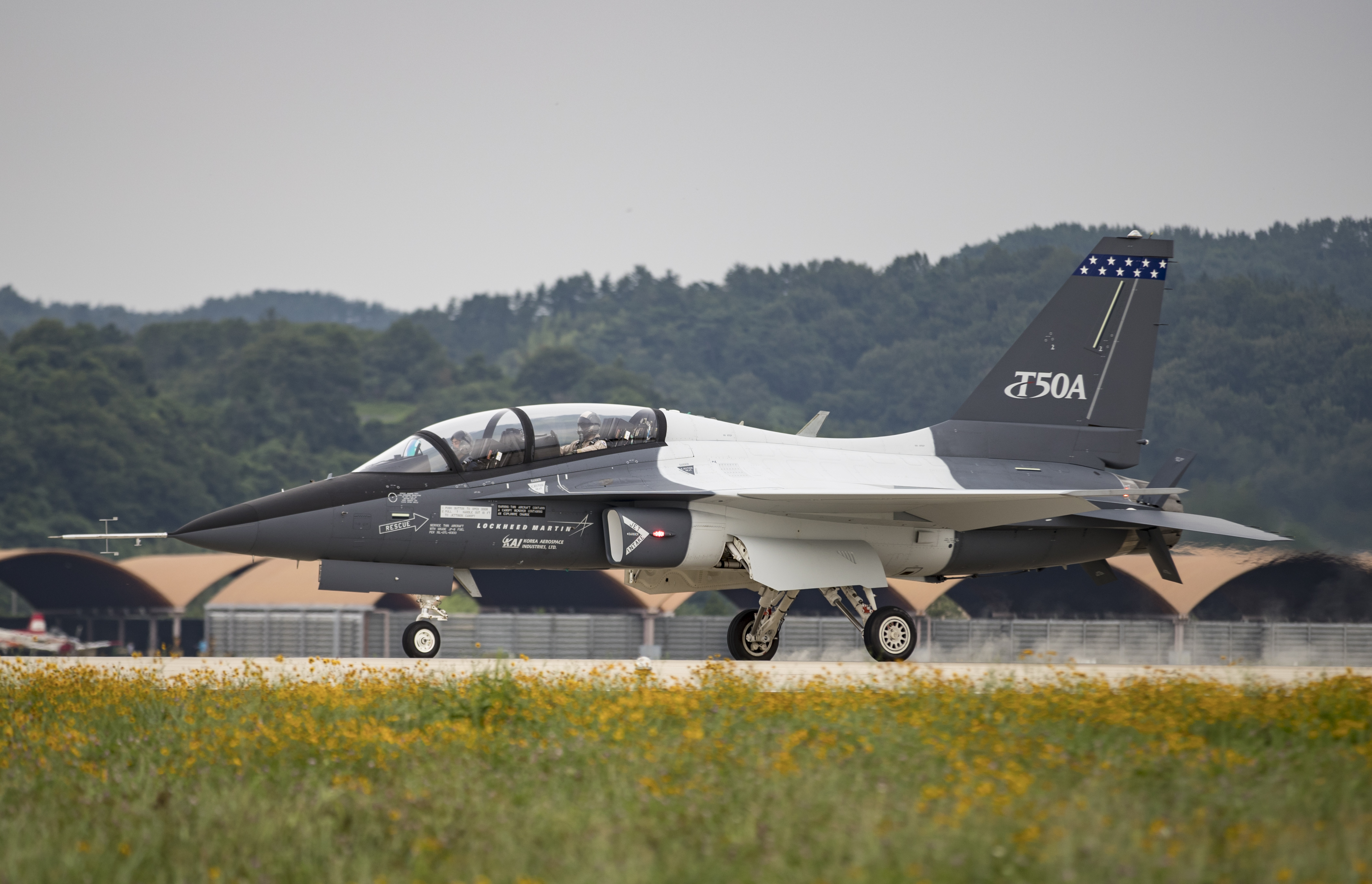A T-50A during a high-speed taxi test. Lockheed Martin image.