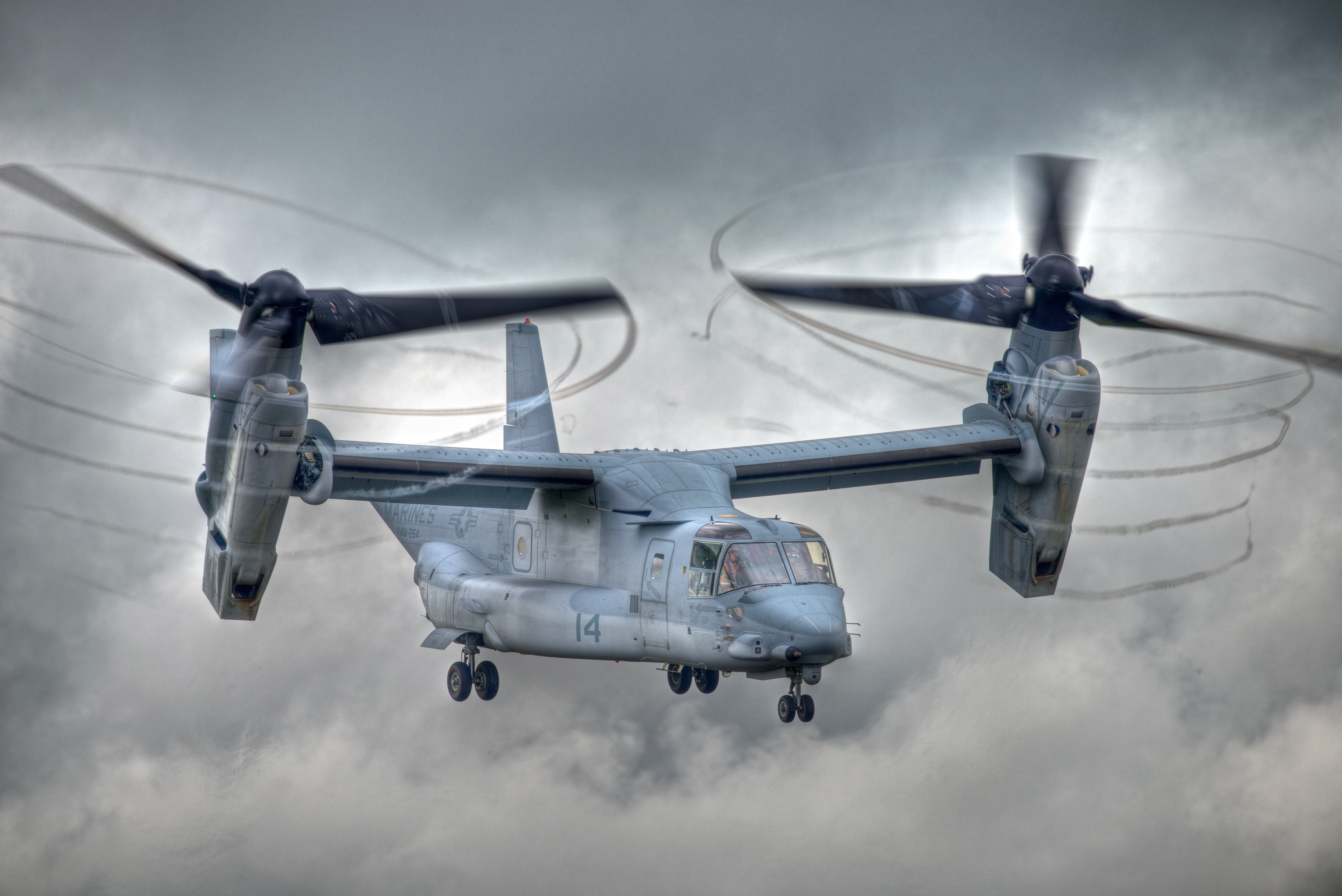 The V-22 Osprey, a tiltrotor built by Bell and Boeing.