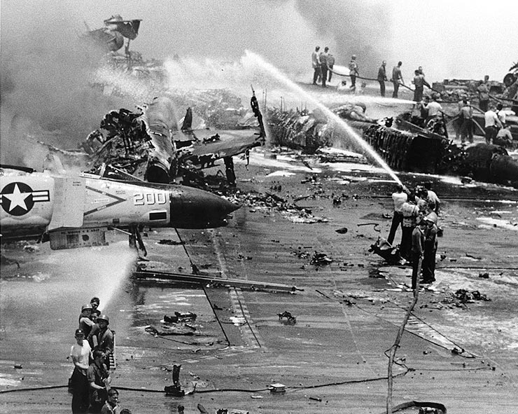 Accidents are a constant risk aboard aircraft carriers. In 1967, a Zuni rocket was discharged inadvertently, causing a catastrophic fire aboard the USS Forrestal. Mishaps regarding munitions, fuel, and the aircraft themselves can occur when procedures and equipment are not sufficiently refined.