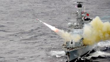HMS Montrose Firing a Harpoon Missile