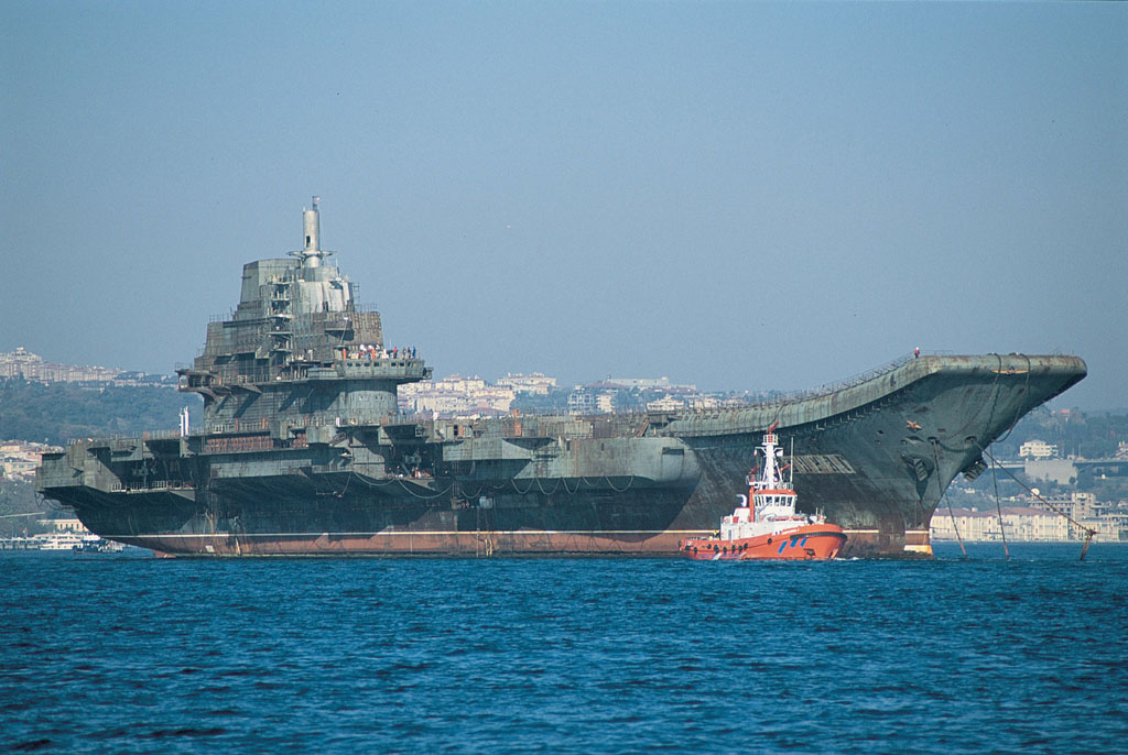 The Soviet Kuznetsov-class aircraft carrier Varyag during its transfer to China. Varyag would later be commissioned in the PLAN as Liaoning after an extensive refit.