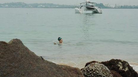 taking a nice dip near my yacht!