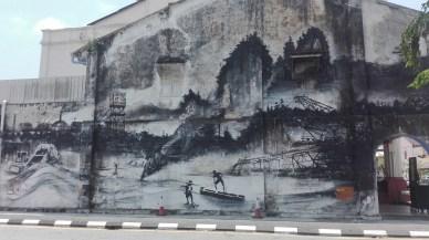 street art representing the tin mining industry of Perak