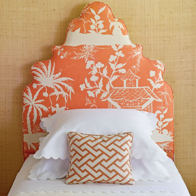 orange headboard bed