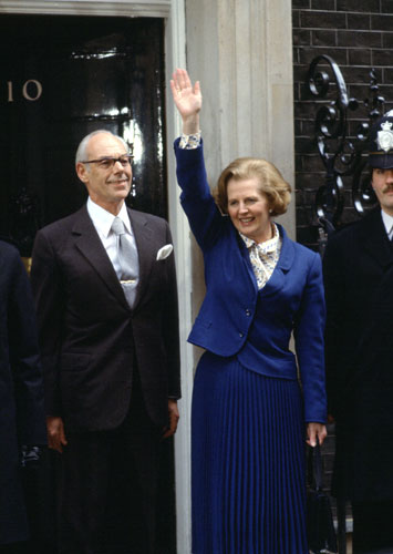 {Britain's first woman prime minister, Margaret Thatcher at 10 Downing Street with her husband Denis, 1979}