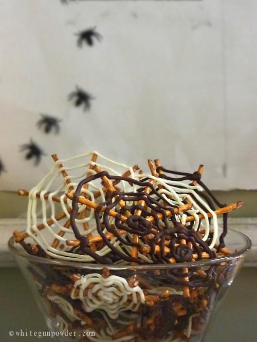 Halloween / Chocolate Pretzel Spider Webs