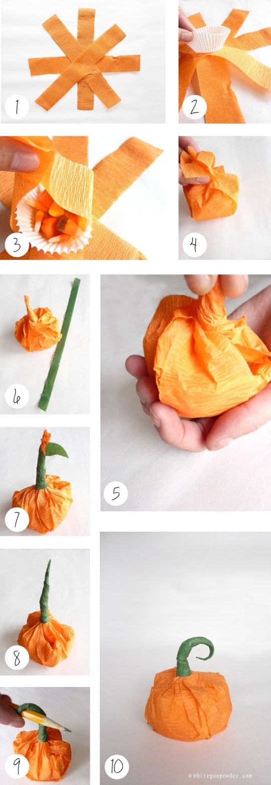 Halloween, Mini Paper Pumpkins with Treats