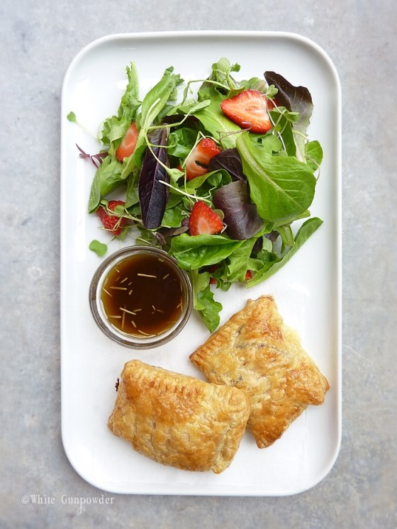 Mixed Green Salad with Strawberries and Balsamic Vinaigrette / ham & cheese in puff pastry
