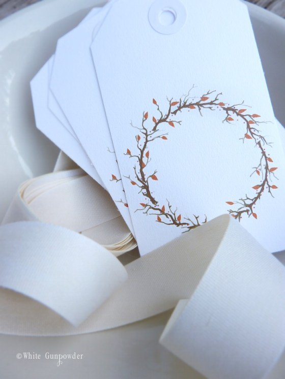 autumn 2014,  wreath gift tags