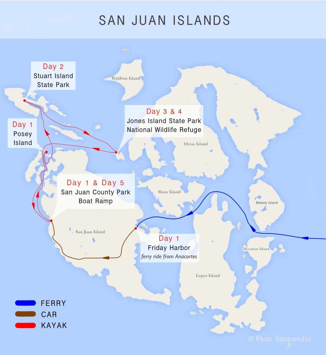 San Juan Islands kayaking and camping  White Gunpowder