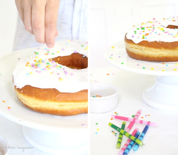 Donut Birthday Cake -1 white gunpowder