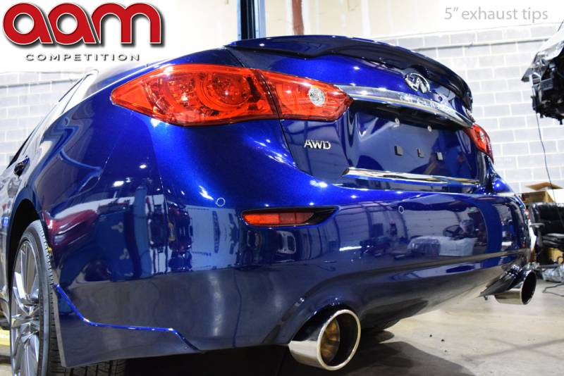 aam competition resonated short tail exhaust system infiniti q50 q60 3 0t vr30ddtt