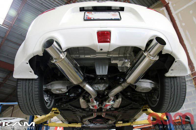aam competition r line 3 true dual exhaust system nissan 370z 2009