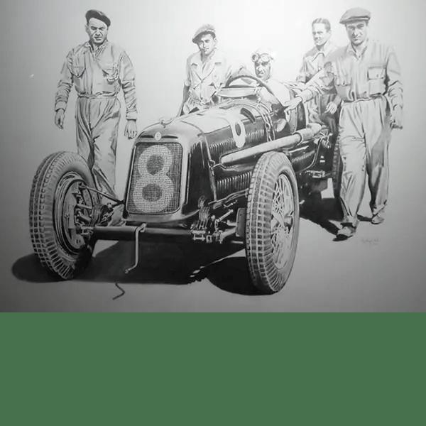 Tazio Nuvolari Maserati - Phillip Dutton White - Original Sketch