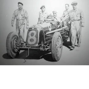 Tazio Nuvolari Maserati - Phillip Dutton White - Original Sketch