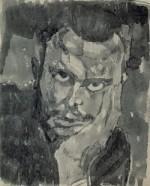 Paul Klee, Self-Portrait Full Face, Resting Head in Hand, 1909