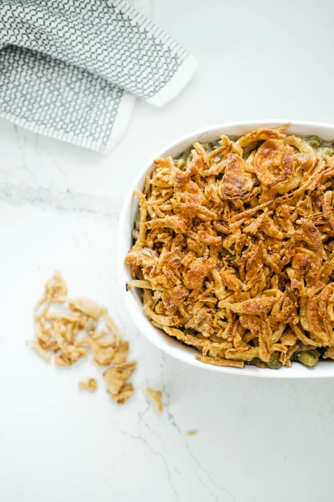 Crunchy topping on green bean casserole
