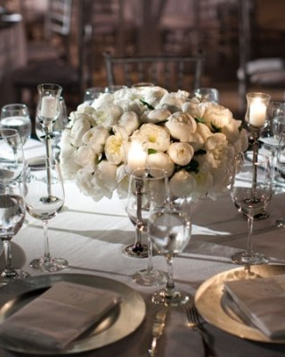 White peonies flower centerpiece
