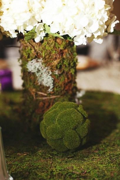 Hydrangeas wraped with moss- Rustic