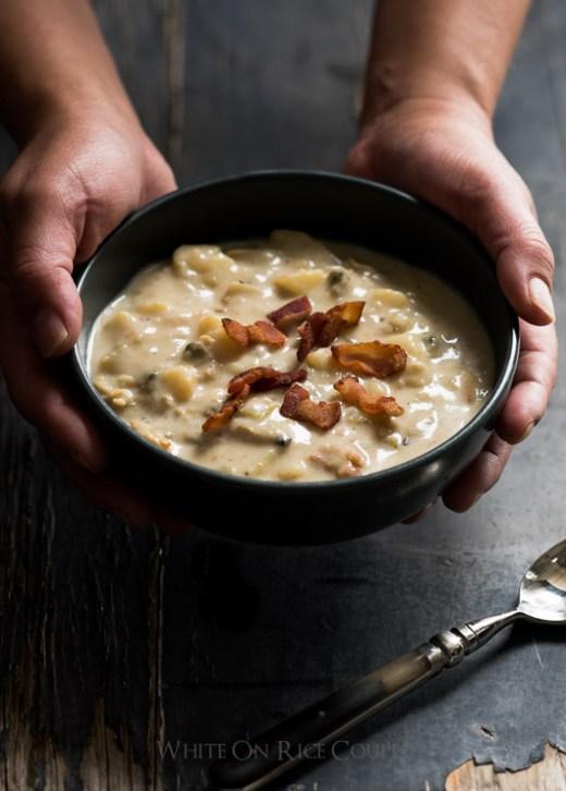 New England Clam Chowder Recipe on WhiteOnRiceCouple.com and @whiteonrice