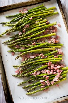 Garlic Roasted Asparagus Recipe with Ham | @whiteonrice