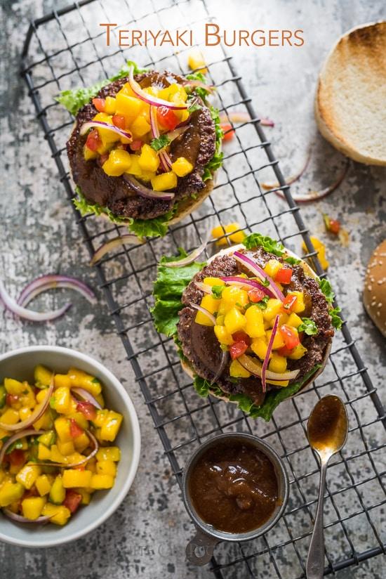 Teriyaki Burgers with Homemade Teriyaki Sauce Recipe and Mango Salsa Recipe | @whiteonrice