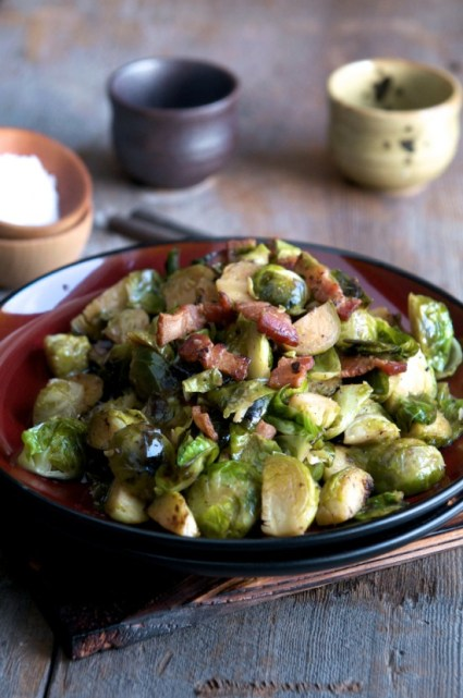 Braised Brussels Sprouts with Bacon and Shallots Recipe from @whiteonrice