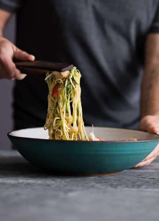Healthy Chicken Zucchini Noodle Pad Thai Recipe   @whiteonrice