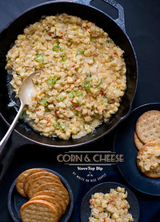 Corn and Cheese Stovetop Dip for Parties from @whiteonrice