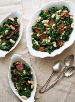 Kale, bacon and white bean salad perfect warm or cold for any occasion @whiteonrice