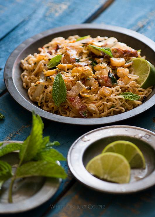 Todd's Noodle Stir Fry Recipe with Ramen Noodles, Bacon & Shrimp on @whiteonrice
