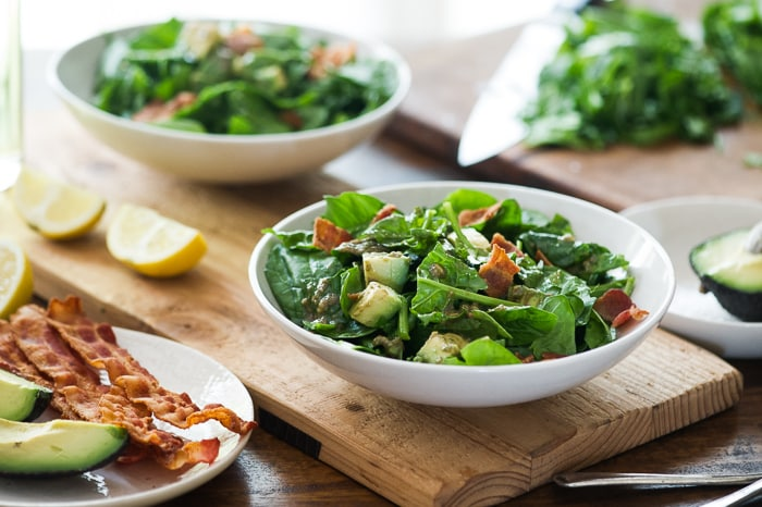 Bacon Spinach Salad with Amazing Avocado Vinaigrette | @whiteonrice
